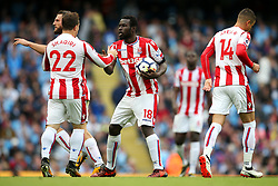 Mame Biram Diouf of Stoke City celebrates after scoring his sides second goal - Mandatory by-line: Matt McNulty/JMP - 14/10/2017 - FOOTBALL - Etihad Stadium - Manchester, England - Manchester City v Stoke City - Premier League
