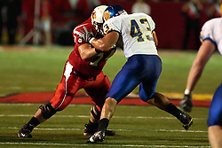 26 September 2009: Nick Bledsoe and Chris Johnson lock it up on the line. South Dakota State Jackrabitts jump past the Illinois State Redbirds 38 - 17 at Hancock Stadium on campus of Illinois State University in Normal Illinois