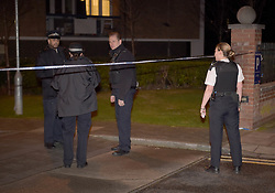 © Licensed to London News Pictures, London, UK, Police at the scene of a murder of a 26 year old male on the George Downing estate in Cazanove Road in Hackney on Sunday night. Photo credit: Steve Poston/LNP