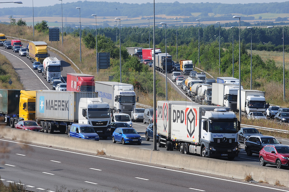 © Licensed to London News Pictures. 17/08/2016<br /> SEVERE TRAFFIC DELAYS IN KENT.<br /> Traffic on the M25 Dartford and traffic joining from the A2, anti-clockwise towards Dartford Bridge into Essex.<br /> QE2 Bridge is closed in Dartford,Kent in both directions after an accident at 2am this morning (17.08.2016).    The closure is causing severe traffic on the M25 AND A2 both of which are at a standstill.<br /> <br /> (Byline:Grant Falvey/LNP)