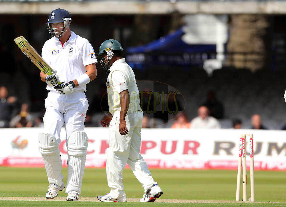 © SPORTZPICS / Seconds Left Images 2010 -  Kevin Pietersen checks his bat in disbelief after he is bowled by Shakib Al Hasan for 18 runs -  England v Bangladesh - 1st Test - Day 1 - Lord's Cricket Ground  St. John's Wood, London 27/06/2010 -  All rights reserved.
