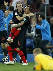 (L-R) Luka Modric of Croatia, Mario Mandzukic of Croatia, England goalkeeper Jordan Pickford during the 2018 FIFA World Cup Russia Semi Final match between Croatia and England at the Luzhniki Stadium on July 01, 2018 in Moscow, Russia