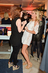 Left to right, PRINCESS EUGENIE OF YORK and CHELSEA DAVY at the launch of AYA jewellery by Chelsy Davy held at Baar & Bass, 336 Kings Road, London on 21st June 2016.