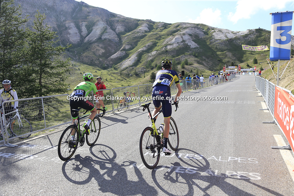 Damien Howson Orica-Scott and Simon Clarke (AUS) Cannondale Drapac climb Col d'Izoard during Stage 18 of the 104th edition of the Tour de France 2017, running 179.5km from Briancon to the summit of Col d'Izoard, France. 20th July 2017.<br /> Picture: Eoin Clarke | Cyclefile<br /> <br /> All photos usage must carry mandatory copyright credit (&copy; Cyclefile | Eoin Clarke)