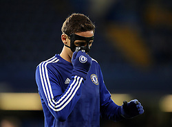 Nemanja Matic of Chelsea pulls at his protective mask - Mandatory byline: Robbie Stephenson/JMP - 05/12/2015 - Football - Stamford Bridge - London, England - Chelsea v AFC Bournemouth - Barclays Premier League