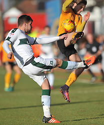 PLYMOUTH JAKUB SOKOLIK BATTLES WITH CAMBRIDGE LUKE BERRY, Cambridge United v Plymouth Argyle, Sky Bet League Two Abbey Stadium, Saturday 4th February 2017. <br /> Score 0-1 (SARCEVIC)