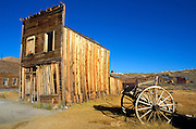 Afternoon light on the Swazey Hotel and wagon on Main Street, Bodie State Historic Park (National Historic Landmark), California USA