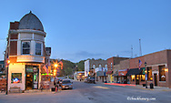The town of Utica Illinois at dusk