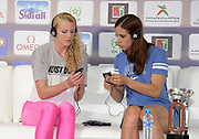 Sandi Morris (USA), left, and Katerina Stefanidi (GRE) at an IAAF Diamond League press conference prior to the  Meeting International Mohammed VI d'Athletisme de Rabat 2019, Saturday, June 15, 2019, in Rabat, Morocco. (Image of Sport)