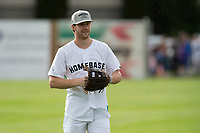KELOWNA, CANADA - JUNE 28: NHL New Jersey Devils player Damon Severson stands in the outfield during the opening charity game of the Home Base Slo-Pitch Tournament fundraiser for the Kelowna General Hospital Foundation JoeAnna's House on June 28, 2019 at Elk's Stadium in Kelowna, British Columbia, Canada.  (Photo by Marissa Baecker/Shoot the Breeze)