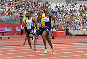 Jul 21, 2019; London, United Kingdom; Akeem Bloomfield (JAM) wins the 400m in 44.40 during the London Anniversary Games at London Stadium at  Queen Elizabeth Olympic Park.