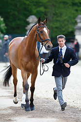Leroy Pascal, (FRA), Minos De Petra<br /> First Horse Inspection<br /> Mitsubishi Motors Badminton Horse Trials - Badminton 2015<br /> © Hippo Foto - Libby Law<br /> 06/05/15