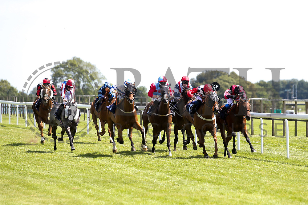 Twenty Boy ridden by David Probert trained by Mark Usher, Tawaafoq ridden by Finley Marsh trained by Adrian Wintle, Vincenzo Coccotti ridden by Joshua Bryan trained by Patrick Chamings, Miracle Garden ridden by Luke Morris trained by Roy Brotherton, Diamond Cara ridden by Rossa Ryan trained by Roger Teal, Scarlet Red ridden by Charlie Bennett trained by Malcolm Saunders, Jaganory ridden Nicola Currie trained by Christopher Mason, Spirit of Ishy ridden by Martin Dwyer trained by Stuart Kittow, Heartstar ridden by Megan Nicholls trained by John Mackie in the Visitbath.co.uk Handicap (Div I) - Mandatory by-line: Robbie Stephenson/JMP - 22/07/2020 - HORSE RACING - Bath Racecoure - Bath, England - Bath Races