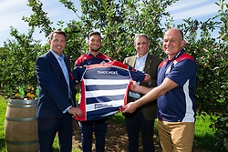 Bristol Sport CEO Andrew Billingham, Bristol Rugby's Jack Lam, Thatcher's Cider Director Martin Thatcher and Bristol Rugby's Director of Rugby Andy Robinson - Rogan Thomson/JMP - 29/07/2016 - PR - Myrtle Farm - Sandford, England - Bristol Sport Thatchers Visit.