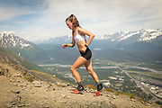 Denali Foldager-Strabel makes it to the summit of Mount Marathon in the 2018 women's race.