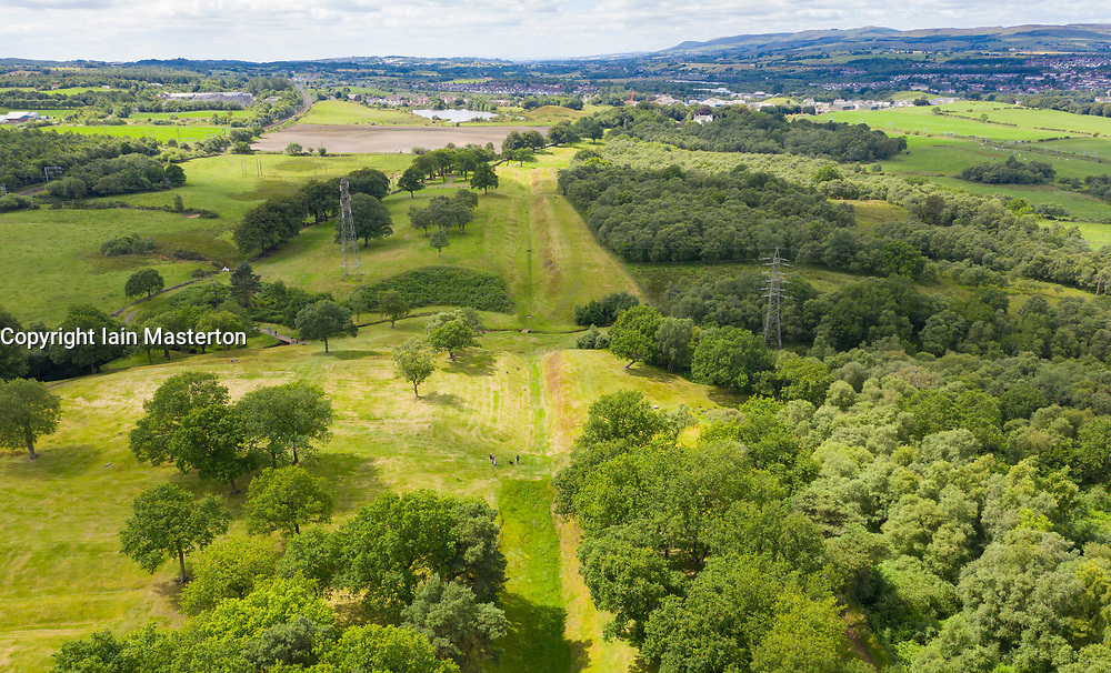Aerial view showing route (looking west) of Roman Antonine Wall at Rough Castle, Central Region, Scotland, UK