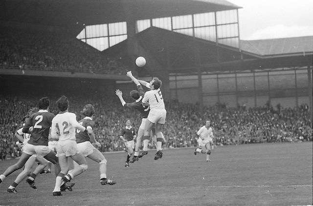 Two players jump for the ball in the All Ireland Senior Gaelic Football Championship Final Cork v Galway in Croke Park on the 23rd September 1973. Cork 3-17 Galway 2-13.