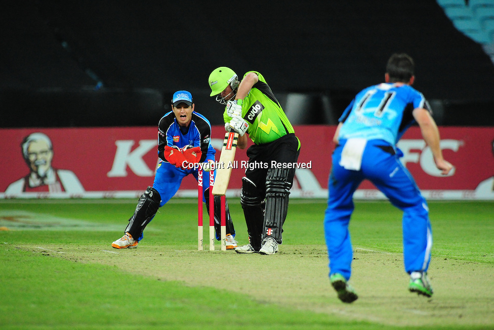 23.12.2011 Sydney, Australia.Thunder batsman Craig Philipson bowled by Adelaide Strikers all rounder Aaron O'Brien during the KFC T20 Big Bash Cricket League game between Sydney Thunder and Adelaide Strikers at ANZ Stadium Sydney.