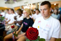 Flower at arrival of team Slovenia at the end of European Athletics Championships Barcelona 2010 to Slovenia, on August 2, 2010 at Airport Joze Pucnik, Brnik, Slovenia. (Photo by Vid Ponikvar / Sportida)