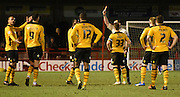 Medi Elito (hidden) is sent to the stands during the Sky Bet League 2 match between Crawley Town and Newport County at the Checkatrade.com Stadium, Crawley, England on 1 March 2016. Photo by Michael Hulf.