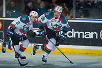 KELOWNA, CANADA - JANUARY 5: James Hilsendager #2 and Carsen Twarynski #18 of the Kelowna Rockets skate up the ice against the Seattle Thunderbirds on January 5, 2017 at Prospera Place in Kelowna, British Columbia, Canada.  (Photo by Marissa Baecker/Shoot the Breeze)  *** Local Caption ***