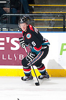 KELOWNA, CANADA - OCTOBER 22: Zach Franko #9 of the Kelowna Rockets skates against the Calgary HItmen on October 22, 2013 at Prospera Place in Kelowna, British Columbia, Canada.   (Photo by Marissa Baecker/Shoot the Breeze)  ***  Local Caption  ***