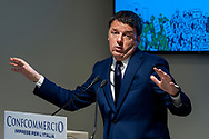 ROME, ITALY - FEBRUARY 14: Matteo Renzi, secretary of the Democratic Party, during a meeting with Confcommercio (Italian General Confederation of Enterprises, Professional Activities and Autonomous Work) to present the programme for the party for the upcoming general elections to be held on March 4 on February 14, 2018 in Rome, Italy.