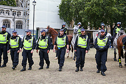 © Licensed to London News Pictures. 07/09/2019. London, UK. Large police presence in Parliament Square as a cordon is set up around Pro Brexit protesters. Photo credit: Dinendra Haria/LNP