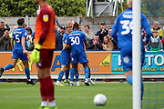 AFC Wimbledon attacker Marcus Forss (15) celebrating after scoring goal  during the EFL Sky Bet League 1 match between AFC Wimbledon and Rochdale at the Cherry Red Records Stadium, Kingston, England on 5 October 2019.