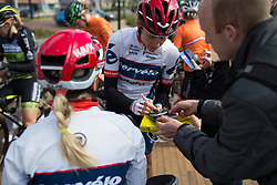 Allie Dragoo (USA) of Cervélo-Bigla Cycling Team signs a rider card before Stage 3 of the Healthy Ageing Tour - a 154.4 km road race, between  Musselkanaal and Stadskanaal on April 7, 2017, in Groeningen, Netherlands.
