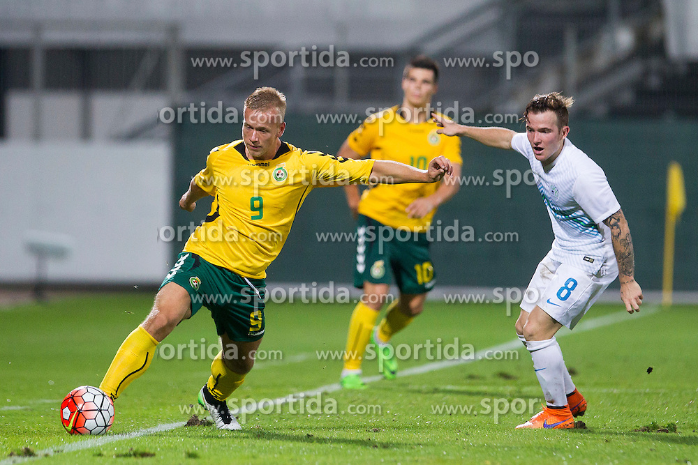 Dino Hotic #8 of Slovenia and Klaudijus Upstas #9 of Lithuania during football match between U21 National Teams of Slovenia and Lithuania in 2nd Round of UEFA 2017 European Under-21 Championship Qualification on September 4, 2015 in Arena Petrol, Celje, Slovenia. Photo by Urban Urbanc / Sportida