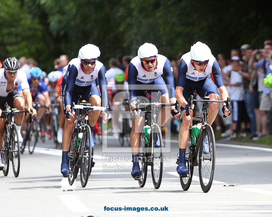 Picture by Paul Terry/Focus Images Ltd. 07545 642257.28/07/12.The Great Britain Team during a lap of Box Hill for the Men's Road Race Road Cycling on day 1 of the London 2012 Olympic Games on July 28, 2012.