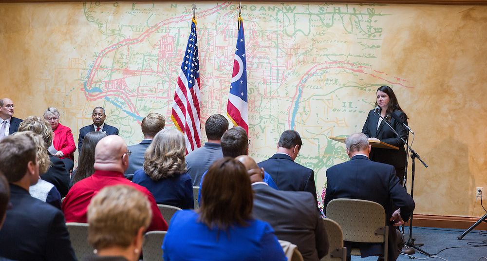 Ohio University Registrar Debra M. Benton speaks at the dedication of of the General James M. Abraham - Colonel Arlene F. Greenfield Veterans and Military Student Services Center. Photo by Jasmine Beaubien