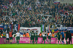 Players of Slovenia celebrate at  the 2010 FIFA World Cup South Africa Qualifying match between Slovakia and Slovenia, on October 10, 2009, Tehelne Pole Stadium, Bratislava, Slovakia.  (Photo by Vid Ponikvar / Sportida)
