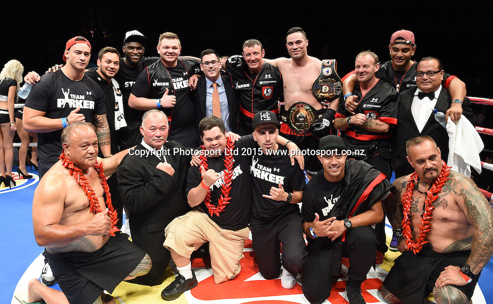 Joseph Parker and entourage. Heavyweight Boxing. Burger King Road to the Title, Vodafone Arena, Auckland, New Zealand. Thursday 5 March 2015. Copyright Photo: Andrew Cornaga / www.photosport.co.nz.