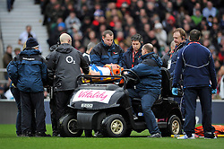 Mike Brown of England is stretchered off the field because of concussion - Photo mandatory by-line: Patrick Khachfe/JMP - Mobile: 07966 386802 14/02/2015 - SPORT - RUGBY UNION - London - Twickenham Stadium - England v Italy - Six Nations Championship