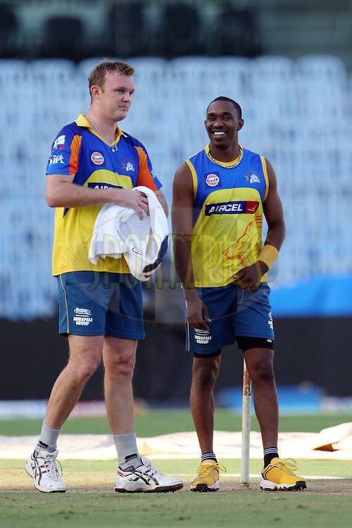 Doug Bollinger and Dwayne Bravo during a practice session of the Chennai Super Kings and Kings XI Punjab in the the Indian Premier League ( IPL) 2012 held at the M. A. Chidambaram Stadium, Chennai on the 27th April 2012..Photo by Jacques Rossouw/IPL/SPORTZPICS