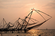 Chinese nets at sunset in Kochi
