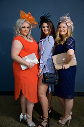 LIVERPOOL, ENGLAND - Thursday, April 6, 2017: Charlotte Rumsey, 24, Chenice Kiernan, 23, and Caroline Haigh, 22, all from Blackpool and wearing So Fabulous, during The Opening Day on Day One of the Aintree Grand National Festival 2017 at Aintree Racecourse. (Pic by David Rawcliffe/Propaganda)