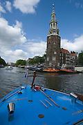 Grachten sightseeing by boat. Zuiderkerk.