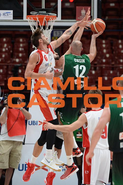 Cusin Marco, Achille Polonara<br /> Supercoppa Sidigas Scandone Avellino - Grissin Bon Reggio Emilia<br /> Basket serie A 2016/2017<br /> Milano 24/09/2016<br /> Foto Ciamillo-Castoria