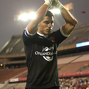 Orlando City Lions Goalkeeper Miguel Gallardo (1) claps for fans during halftime of a United Soccer League Pro soccer match between the Wilmington Hammerheads and the Orlando City Lions at the Florida Citrus Bowl on June 18, 2011 in Orlando, Florida.  (AP Photo/Alex Menendez)