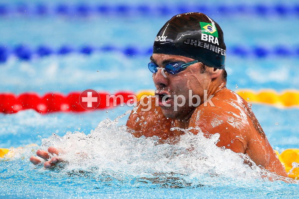 Felipe Franca SILVA of Brazil competes in the men's 100m Breaststroke Heats during the 16th FINA World Swimming Championships held at the Kazan arena in Kazan, Russia, Sunday, Aug. 2, 2015. (Photo by Patrick B. Kraemer / MAGICPBK)