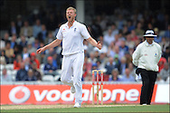 Andrew Flintoff of England yells as a Hashim Amla edge goes past Alastair Cook on the third day of the fourth Test at the Oval with on the 9th of August 2008..England v South Africa.Photo by Philip Brown.www.philipbrownphotos.com