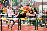 UVM's Martin Kallur competes in the 110 meter hurdles during the first day of the America East Track and Field Championship at the Frank H. Livak Track and Field Facility on Saturday May 3, 2014 in Burlington, Vermont. (BRIAN JENKINS, for the Free Press)