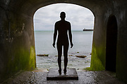 An Antony Gormley cast iron figure from the series 'Another Time' located in the arches of Sunny Sands Bay sea defence. Part of the 2017 Folkestone Triennial. Folkestone, Kent. (photo by Andrew Aitchison / In pictures via Getty Images)