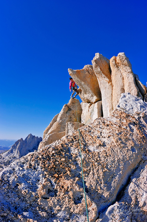 Climber on the classic traverse of Matthes Crest, Yosemite National Park, California
