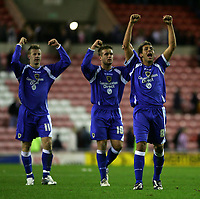 Photo: Andrew Unwin.<br /> Sunderland v Cardiff City. Coca Cola Championship. 31/10/2006.<br /> Cardiff's Michael Chopra (#8) leads the celebrations at the end of the game.