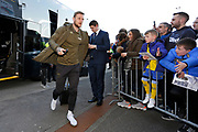 Leeds United defender Liam Cooper (6) arriving at the ground during the EFL Sky Bet Championship match between Preston North End and Leeds United at Deepdale, Preston, England on 9 April 2019.