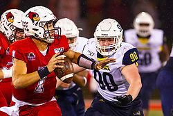 NORMAL, IL - September 21: Brady Davis flushed from the pocket by Aaron Andrews during a college football game between the ISU (Illinois State University) Redbirds and the Northern Arizona University (NAU) Lumberjacks on September 21 2019 at Hancock Stadium in Normal, IL. (Photo by Alan Look)